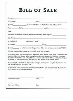 category business bill of sale form